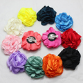 wedding baby silk Layered peony Flowers brooch handmade satin flower hairclip for baby girls' clothes hair accessories 60pcs/lot
