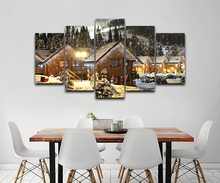 HD Prints 5 Pieces Christmas Decorations Canvas Posters Home Decor Snow House Tree Night Painting ramework Wall Art Livings Room(China)