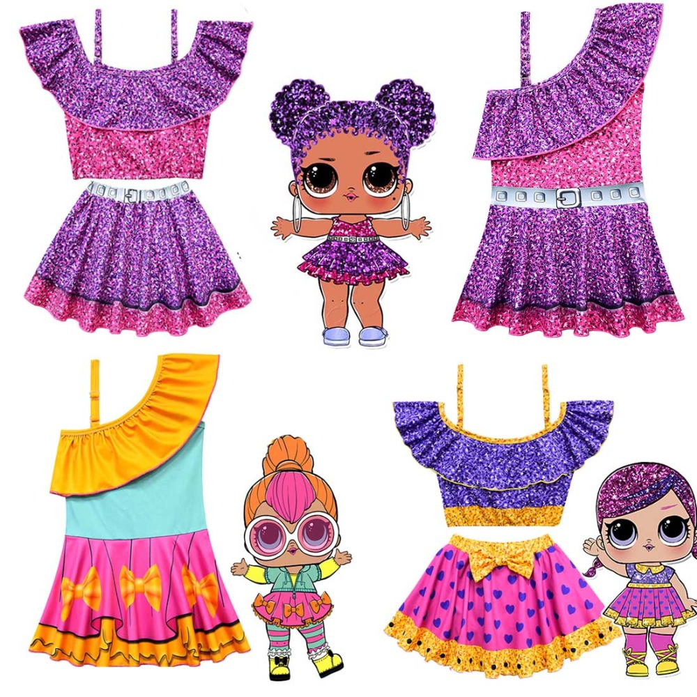 Baby Girls swimsuit Surprise Doll cartoon Girl swimwear Princess ballet Kids Summer beach swimming cosplay Costume