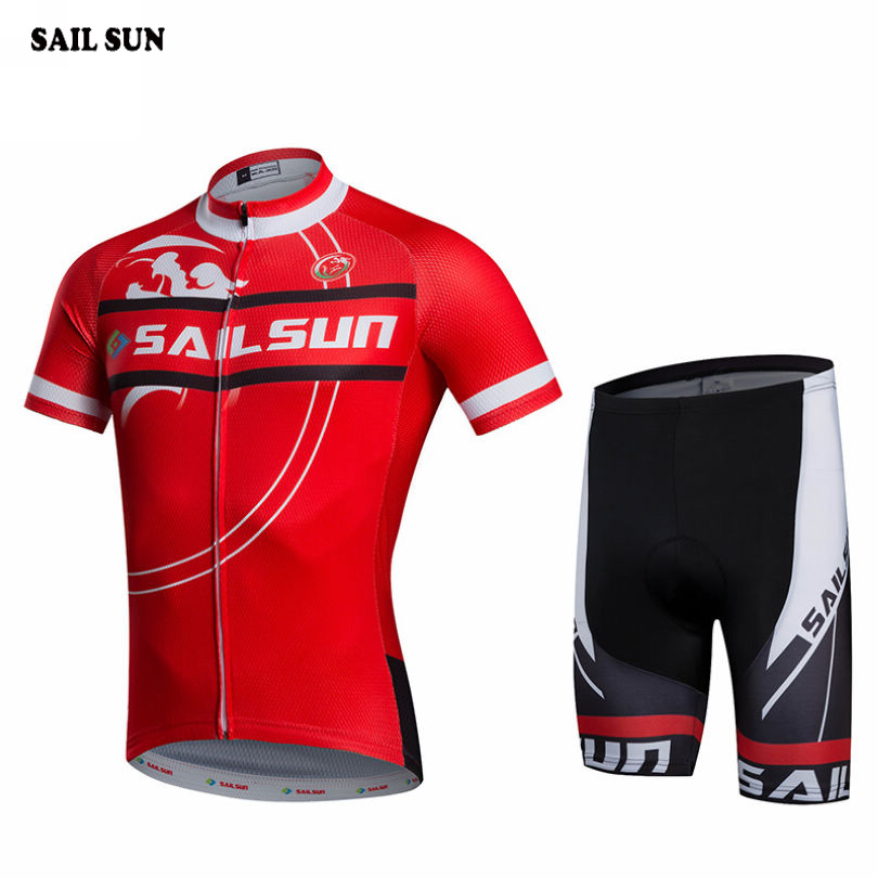 SAIL SUN Men Sports Ropa Ciclismo Cycling Jersey Bike Short Sleeve Clothing Set Bicycle Wear Suit Red Bib Shorts topeak outdoor sports cycling photochromic sun glasses bicycle sunglasses mtb nxt lenses glasses eyewear goggles 3 colors