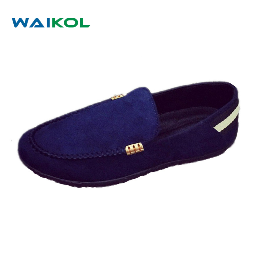 Waikol 20% OFF 2017 Fashion Casual Men Shoes Men Leather Shoes Men Loafers Moccasins Slip on Men's Flats Boat Shoes dxkzmcm new men flats cow genuine leather slip on casual shoes men loafers moccasins sapatos men oxfords