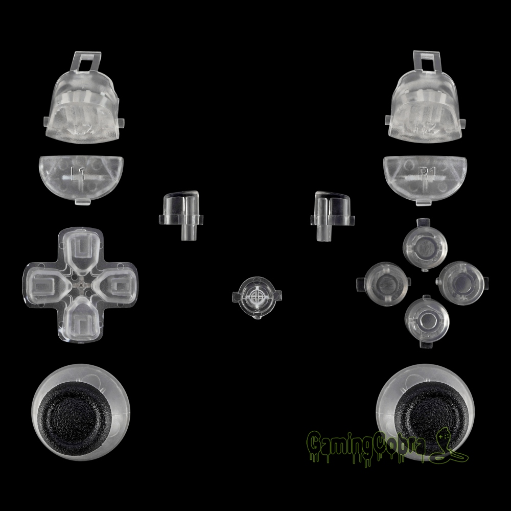 Solid Clear Buttons Thumbsticks for PS4 Pro Slim Controller CUH-ZCT2 JDM-040