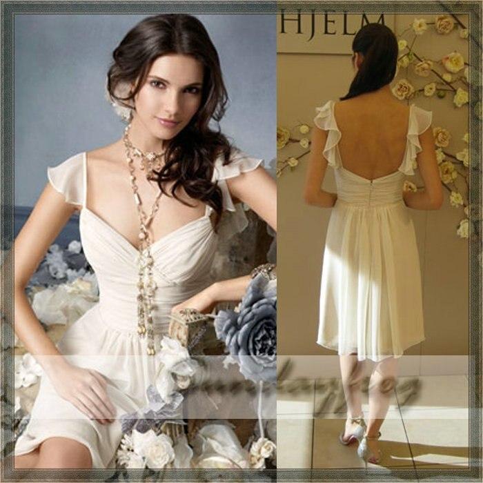 Simple Elegant Tea Length Chiffon Cap Sleeve Wedding: Free Shipping Custom Made Tea Length Cap Sleeve A Line