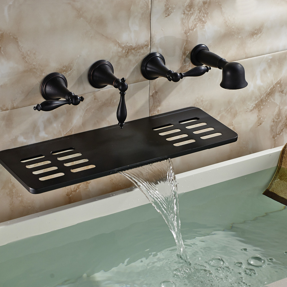 Blackened Finish Bath & Shower Spout Triple Handle Five Hole with ...