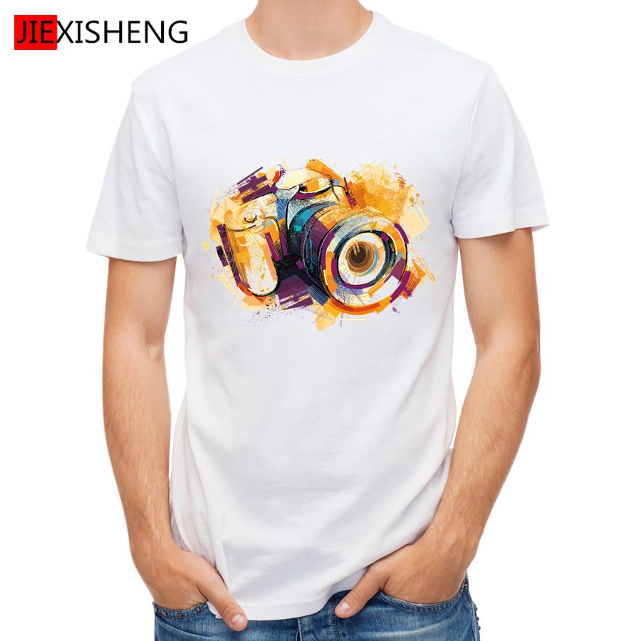Design t shirt for cheap - 2016 Rushed Top O Neck No Summer Oil Painting Camera Design T Shirt Men S High