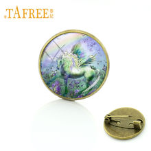 TAFREE Vintage Rainbow Unicorn Horse Brooches Dreamlike Aniaml Horns Horse Brooch Pins Badge For Women Men Souvenir Jewelry UN14(China)