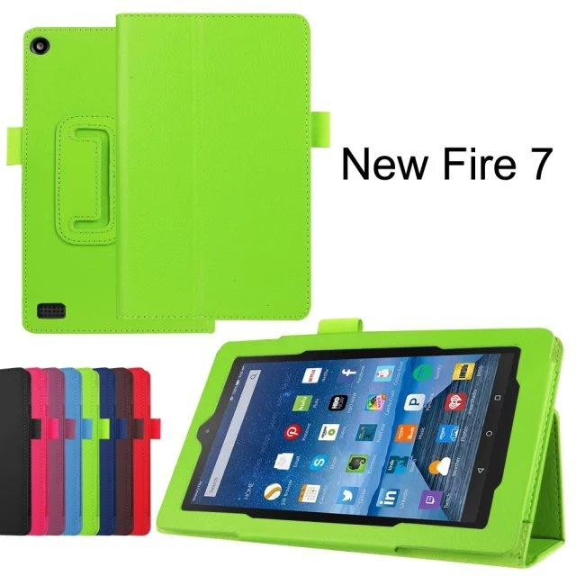 3 in 1 ,Pu Leather Stand Tablet Cover Case for Amazon New Fire 7 2015 + Screen Protectors + Stylus
