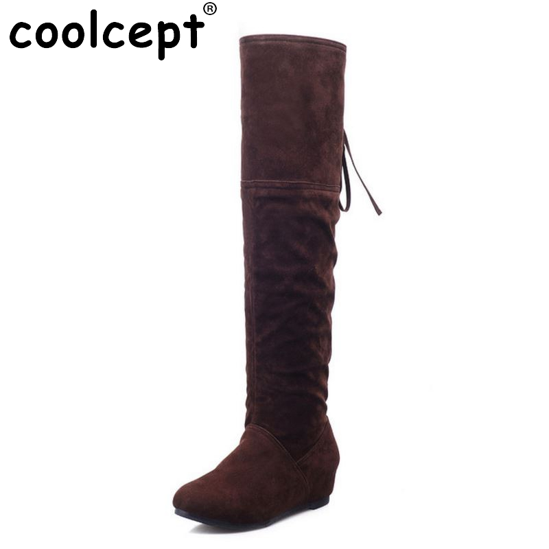 ФОТО Shoes Women Boots Flats Boots Over The Knee Boots Round Toe Long Botas Fashion Knight Boot Ladies Footwear Size 34-39