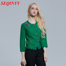 Lace Top Summer Spring 2017 Fashion Daily Women's Beading New Bead Dragonfly Insects Green Short Jacket