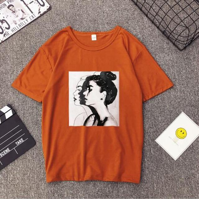 Girls Print Short Sleeve O Neck Cotton Spandex Top Slim Fit Soft T-shirt 2