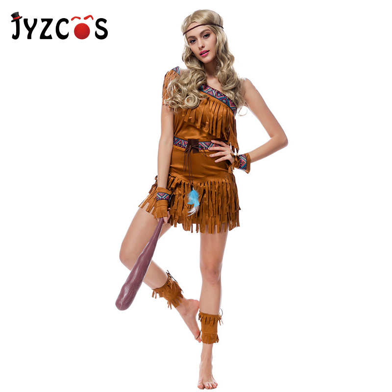 JYZCOS Aboriginal Costume Indian Princess Cosplay Dress Halloween Purim Cosplay Costume performance Costume Party Fancy Dress