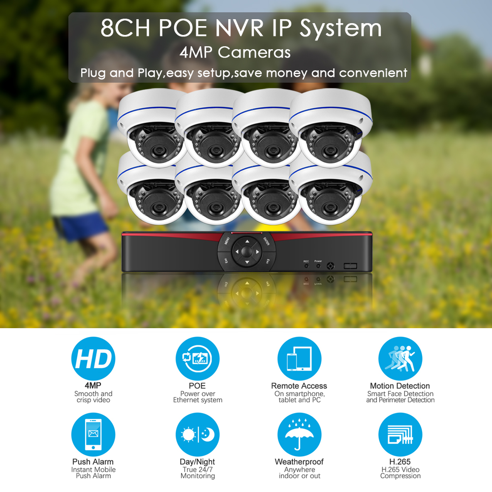 Image 2 - Gadinan 8CH 4MP POE NVR Security Camera System Kit H.265 Audio Record IP Camera IR Dome Outdoor Waterproof CCTV Surveillance Set-in Surveillance System from Security & Protection