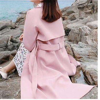 High quality yellow office lady coat fashion winter autumn belt elegant long coat pleated V-neck bow ladies coat