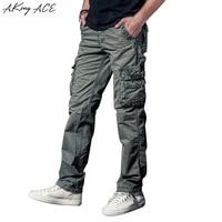 2017 New Fashion Men S Iron Grey Vintage Pants Cargo Military Trousers Multi Pocket Male Cotton