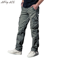 2017 New Fashion Men's Iron Grey Vintage pants cargo military trousers multi pocket male cotton pants plus size 40, ZA220