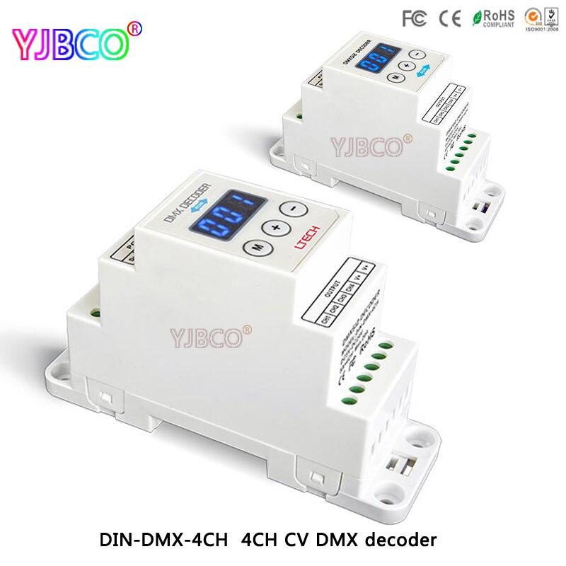 Led comtroller DIN-DMX-4CH; 4CH CV DMX Decoder; DC5-24V di ingresso; 4A * 4CH di uscita per la luce del ledLed comtroller DIN-DMX-4CH; 4CH CV DMX Decoder; DC5-24V di ingresso; 4A * 4CH di uscita per la luce del led