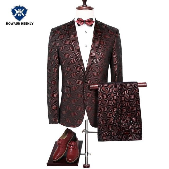 Shiny Floral Stage Wear Singer Suit Groom Tuxedos Jacket Men Red Suit Latest Coat Pant 2017 Wedding Suits For Men Sequins Blazer