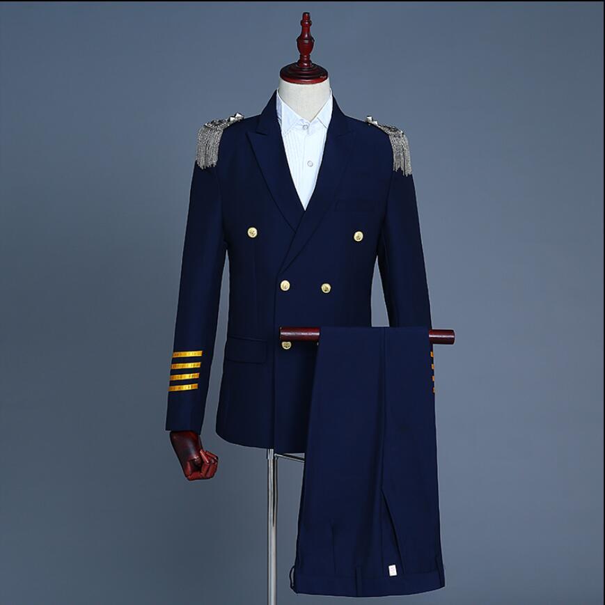 2019 mode nouveaux hommes capitaine uniforme militaire costumes double boutonnage costume robe gland Epaulet personnalité costume hôte DJ costume