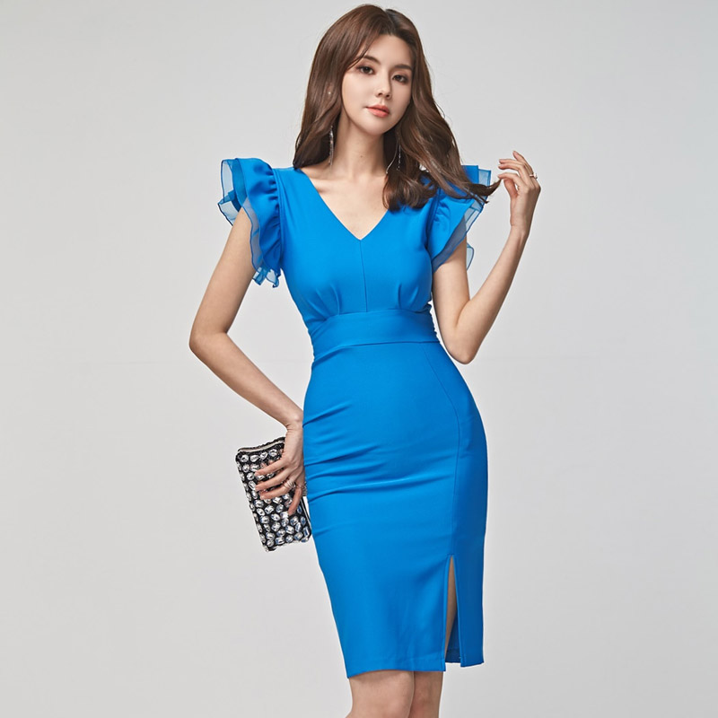 HAMALIEL Korean <font><b>Blue</b></font> Summer <font><b>Bodycon</b></font> <font><b>Dress</b></font> <font><b>Sexy</b></font> Women Butterfly Sleeve Sheath Office Ladies <font><b>Dress</b></font> Fashion Pencil Split OL <font><b>Dress</b></font> image