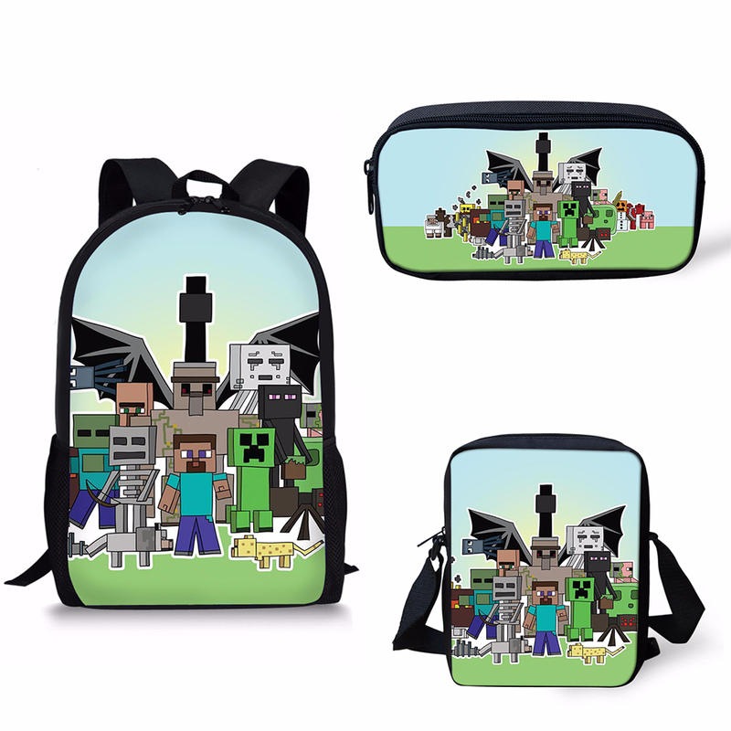 2019 New arrival 3Pcs Set School Backpack Shoulder bag pencil bag set Minecraft Print School Bag Kids Boy Children Book bag