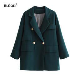 Новая мода 2018 осень зима темно Блейзер женские металлические пуговицы двубортный пиджаки для женщин куртка Верхняя одежда Зеленый
