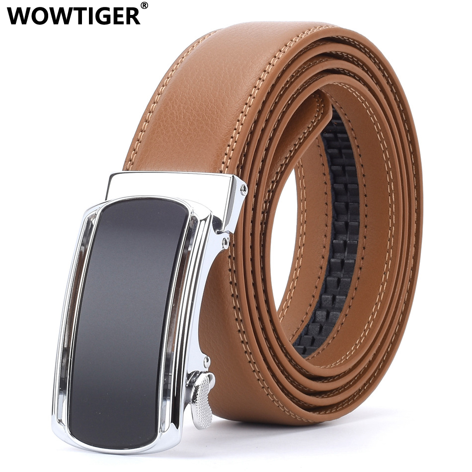 WOWTIGER Fashion Designers Mens Automatic Buckle Leather luxury   Belts   Light Brown Male Alloy buckle   Belts   for Men Ceinture Homme
