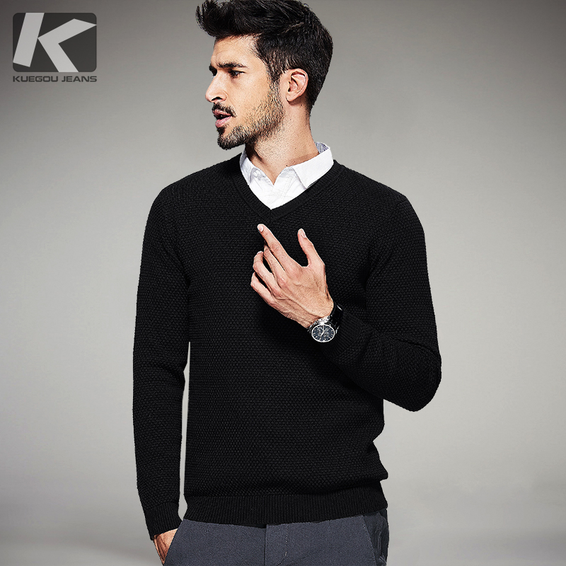 2017 Spring Mens Casual Sweaters Black Color Knitted Brand Clothing V neck Man s Slim Fit