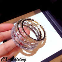 CX-Shirling Luxurious Gold Silver Zircon Circle Earrings For Women Elegant All Match Pary Wedding Fine Earring Jewelry