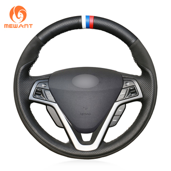MEWANT Black Genuine Leather Hand Sew Car Steering Wheel Cover for Hyundai Veloster 2011 2012 2013 2014 2015 2016 2017 2018