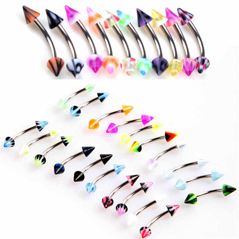 1pcs/lot  Surgical Steel Acrylic  Ball Eyebrow Piercing Curved Barbell Lip Ring Snug Daith Helix Rook Earring
