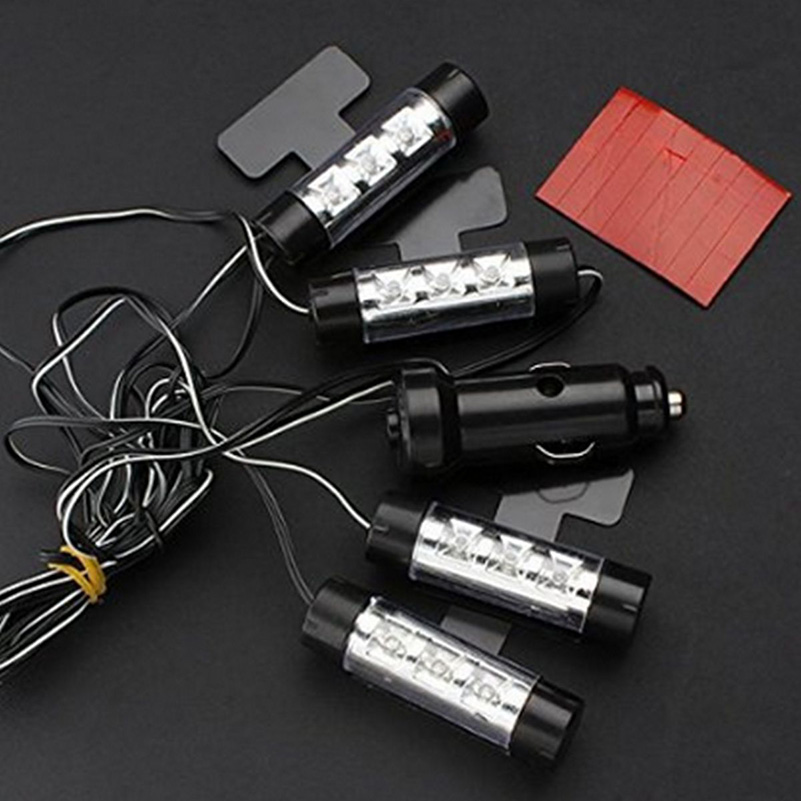 4x 3led interior car decorative light atmosphere lights interior lights foot lamps 4in1. Black Bedroom Furniture Sets. Home Design Ideas