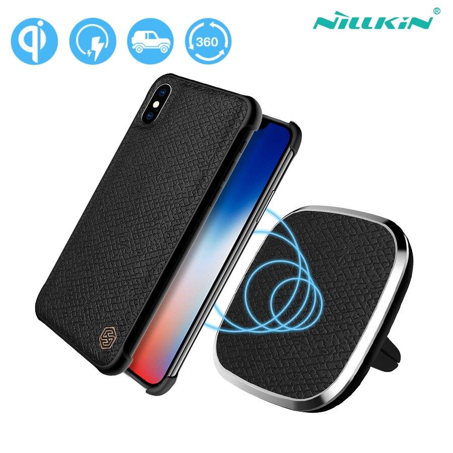 NILLKIN De Voiture Chargeur Sans Fil Pad avec Magnétique Sans Fil Récepteur Cas PU en cuir Montage Air Vent Support de Téléphone Pour iPhone X 5.8''