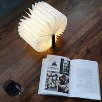 New USB Folding Led Desk Lamp Book Shape Wooden Nightlight Warm White Rechargeable For Home Decoration