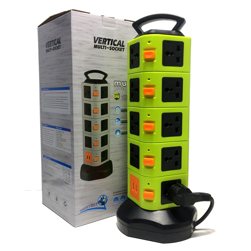 5 Layer 14 Outlets Vertical Standing Socket with 2 USB 5V 2.1A Charger Universal Plugs Adapter 2500W Movable Multi-Socket standard grounding tower extension socket ac 10a multi universal socket 12 outlets with overload protector and portable handle