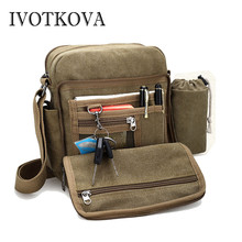 IVOTKOVA Man Daily Carry Bag High Quality Men Canvas Shoulder Casual Travel Mens Crossbody Male Messenger Bottle Bags