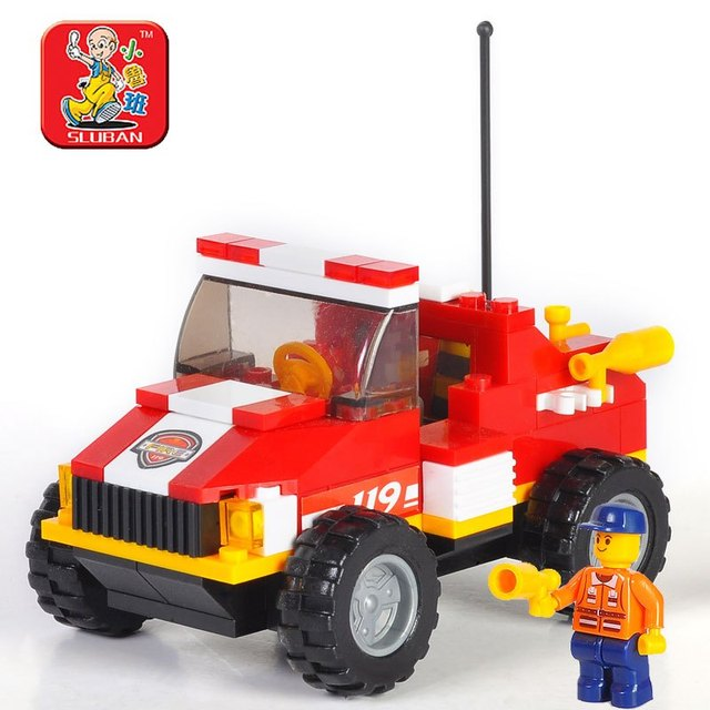 Small luban blocks 119 mini rescue vehicles child educational toys assembling insert toy