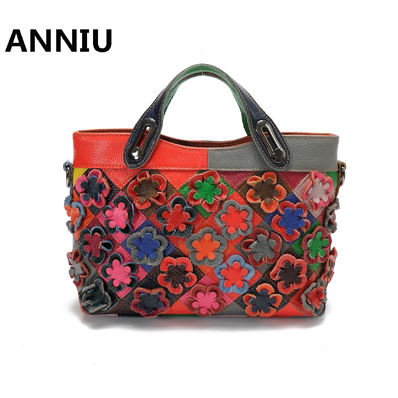 ANNIU 2017 New Fashion Women Camellia genuine Leather stitching handbag designer high quality color flower Lady shoulder bags new split leather snake skin pattern women trunker handbag high chic lady fashion modern shoulder bags madam seeks boutiquem2057