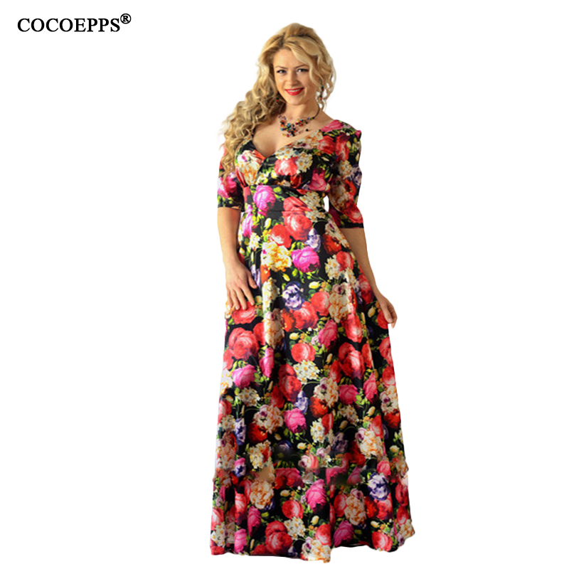 2019 Women Sexy Print 5XL 6XL Beach Tunic Plus Size Long Dress V-neck Half Sleeve Evening Party Large Size Maxi Dress Clothing