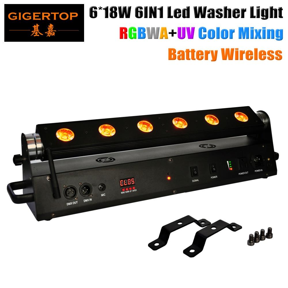 TP-WB06 trådlöst batteri Led tvättmaskinlampa 6 * 18W 6In1 RGBWA + UV-färgblandning DMX 6 / 10CH Led rörlig huvudväggbricka 60 cm lång