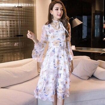 45dad8d173 2018 mujeres de verano de impresión floral largo vestido de gasa elegante  vestidos Flare manga cultivar