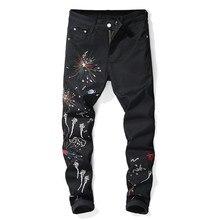 a189128fb7c93c 2019 New Fashion Stylish Cool Mens Pants Jeans With Print Graffiti  Embroidery Denim Slim Fit Jeans