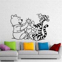 Винни-Пух настенные Винни Пух медведь Тигра мультфильм винил Стикеры Детская комната украшения интерьера дома детская комната