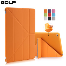 GOLP Case for iPad 6 iPad Air 2, PU Leather Stand Flip Front Cover Soft TPU Bumper Back Case for iPad Air 2 iPad 6