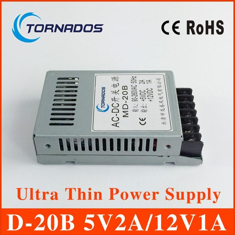 D-20B 5V2A 12V1A Ultra mince alimentation À Double Sortie pour la lumière De Bande De LED SMPS 85 v-264 v AC entrée 5 v 12 v Sortie