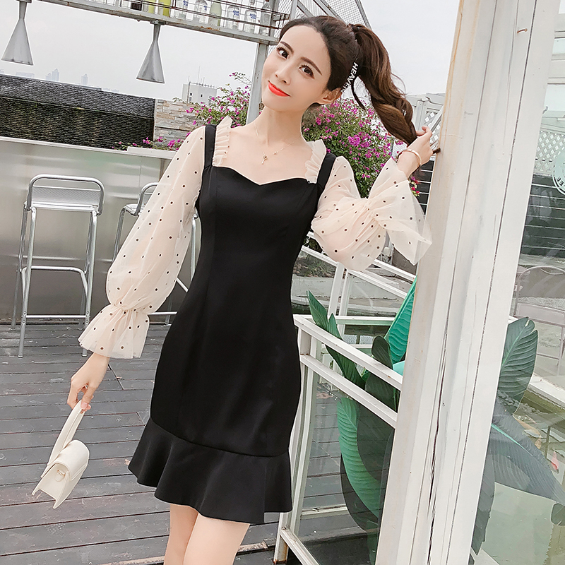 2019 New Spring French Romantic Black Mini Dress Dot Transparent Long Sleeve Mermaid Dress Women Fishtail Sexy Party Vestidos 3