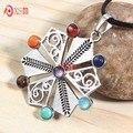 7 Chakras pedras de saúde amuleto cura 7 Chakra Reiki 3D símbolos encantos pedra pingente de colar