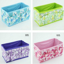 Bling Recommend Cheap New 1Pc 18*10*10cm Flowers Woven Cloth Cosmetic Storage Box Multi Color Gift for Family Free Shipping
