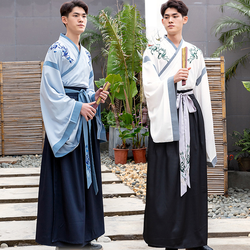 Chinese Ancient Costume Hanfu Male Traditional Men Han Element Clothes Tang Dynasty Performance Stage Dance Costumes Wear DN3515