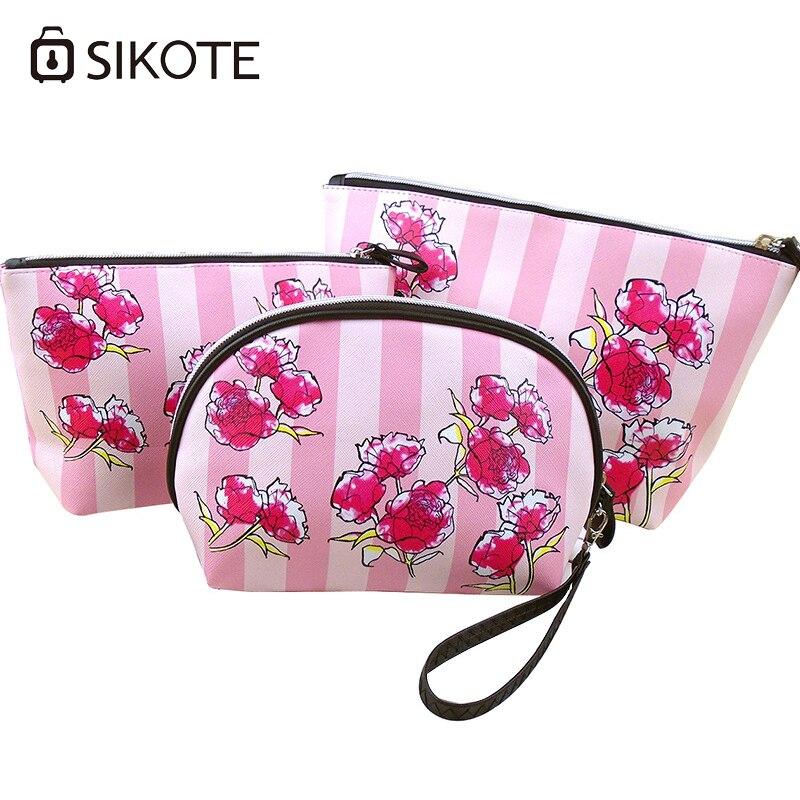 Portable Women s Cosmetic Bags Three pcs Set Fashion Pink Rose High Quality Storage Waterproof Washbag