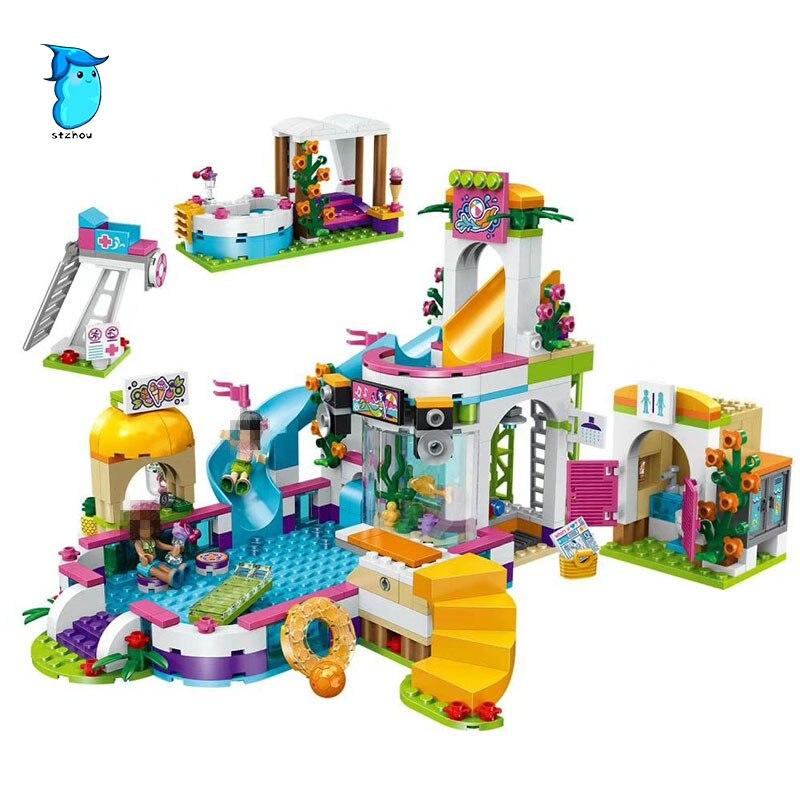 Galleria fotografica Compatibile Con <font><b>Legoe</b></font> Amici 37029 Lepin 589 pz Blocchi La Heartlake Summer Pool di Mattoni Figura giocattoli Per I Bambini